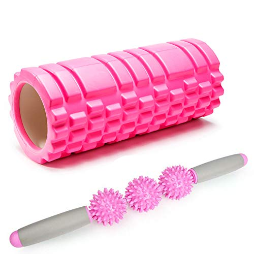 SIYUZ Schaumstoffrolle 2 in 1 Set Tiefengewebemassage Mit Muskelrollerstab Und Massageball Trigger Point Therapie Yoga, Pilates, Myofascial Release,Pink -