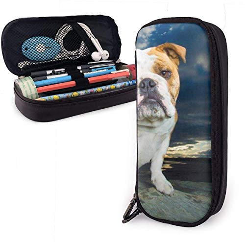 English Bulldog Sitting Rock Pencil Case for Boys and Girls Large Pencil Pouch Holder Pen Case for Student College School Supplies & Office