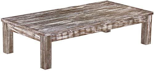 Brasilmöbel Couchtisch Rio Classico 160x80 cm Shabby Antik Eiche Wohnzimmertisch Holz Tisch Pinie Massivholz Stubentisch Beistelltisch Echtholz Größe und Farbe wählbar -