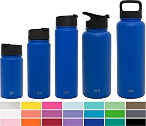 Simple Modern 530ml Summit Water Bottle + Extra Lid - Vacuum Insulated Stainless Steel Wide Mouth Hydro Travel Mug - 18oz Powder Coated Double-Walled Flask - Twilight Blue