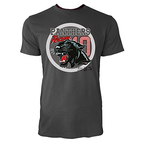 Sinus Art ® Herren T Shirt Panthers Team 10 ( Smoke ) Crewneck Tee with Frontartwork (Panther Crewneck)