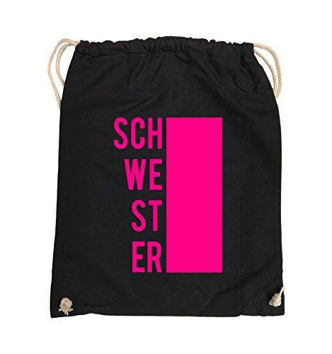Comedy Bags - SCHWESTER - BLOCK - Turnbeutel - 37x46cm - Farbe: Schwarz / Silber Schwarz / Pink