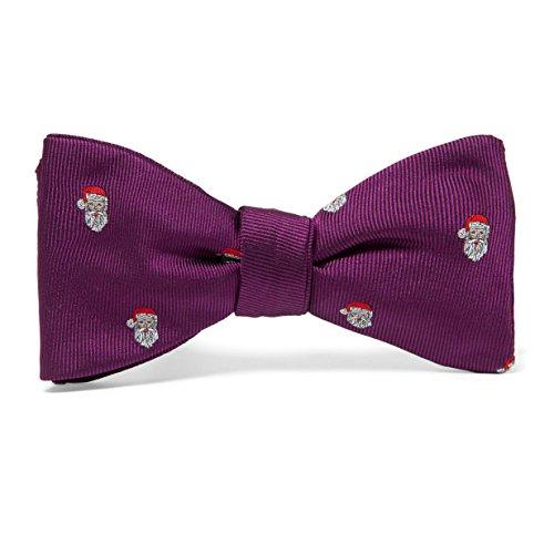 Handgenähte vorgebundene Weihnachts Fliege 100% Seide - Violett, Violett - Motiv Weihnachtsmann - Christmas Seidenschleife Schleife von VON FLOERKE