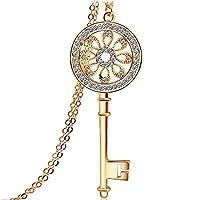 Swarovski Elemants 18K Gold Plated Classic Crystal Key Pendant Necklace - SWR012