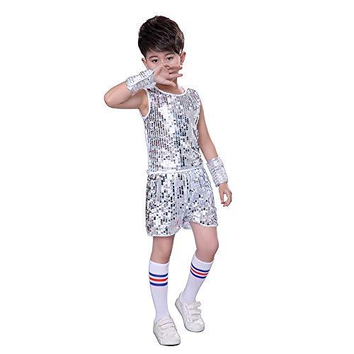 MoyuqiTM Kinder Hip Hop Dance Kostüm Jungen Jazz Street Dance Kleidung (170cm, Silber)