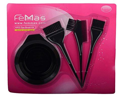 Haar-Färbeset 4 teilig schwarz bestehend aus Färbeschale + Haar-Färbepinsel schmal & breit + Färbepinsel mit Kamm | Pinsel zum Färben der Haare