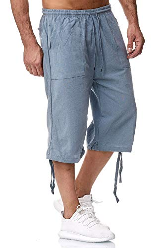 Herren Shorts 3/4 Loose Fit Bermuda Pants Kurze Sommer Hose, Farben:Hellblau, Größe Shorts:XXL -