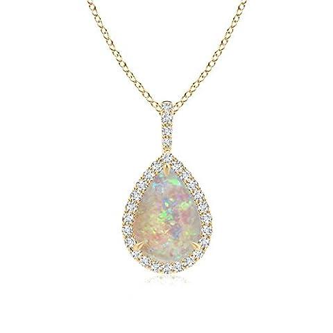 Diamond Halo Pear Shaped Cabochon Opal Drop Pendant in 14K Yellow Gold (10x7mm Opal)