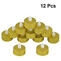 Uonlytech 12Pcs Flameless Candles Tee Candle Lamp LED Electric Battery Operated Candle for Christmas Wedding Party Decoration (Gold)