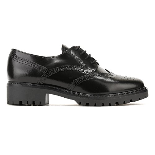 Tower London Femme Black Box Cuir Lacets Chaussures Noir