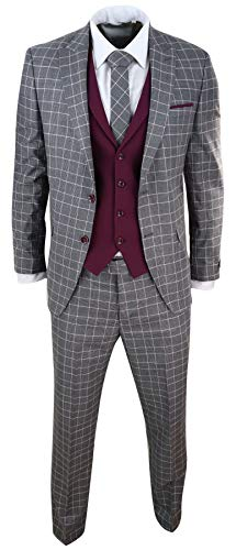 Abito Classico Grigio-Vino da Uomo 3 Pezzi Tweed a Scacchi Vintage stile Gatsby * Traje de 3 piezas para hombre. Tweed a cuadros. Textura de espiga. Colores en contraste.* Este traje viene completo con chaqueta, chaleco y pantalon* Estilo Gatsby y Pe...