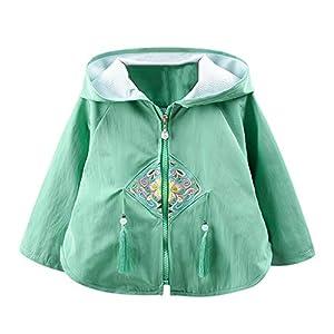 Proumy Kinder Kapuzen Reißverschluss Mäntel, Jchen Baby Mädchen Blumenstickerei Mantel Quasten Kapuzen Winddichte Jacke Oberbekleidung