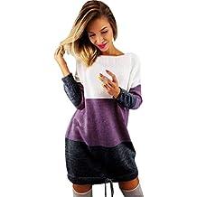 Longra ❤ Sudadera Suéter Mujer Ronda cuello de manga larga Casual Vestido Mini para Otoño