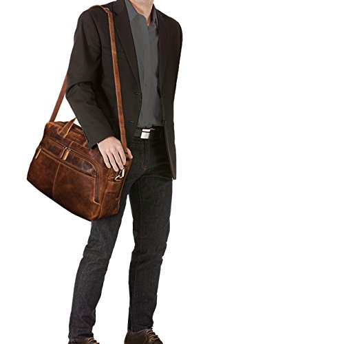 STILORD 'Lias' Vintage Borsa Uomo Grande / XL / Borsa a Tracolla / da Ufficio / Portadocumenti Piccola borsa da viaggio Valigetta Cuoio Antico, Colore:kara - cognac kara - cognac