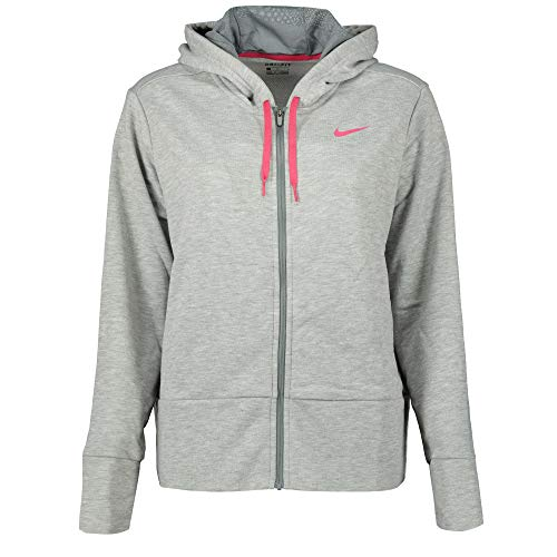 Nike Damen W NK Dry Hoodie FZ Jacket, grau (dk Heather/Cool Grey/Rush pink), S