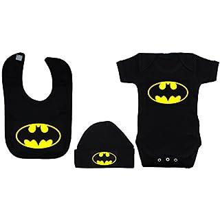 Batman Baby-Kleidungsset, Strampelanzug / Body / T-Shirt / Lätzchen und Mütze, Altersgruppe: 0-12 Monate, Schwarz