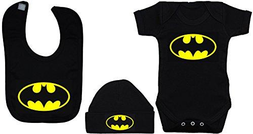 Bat-Baby-BodysuitRompervestT-Shirt-Feeding-Bib-Beanie-Hat-Set-Batman-0-3-Months-Black