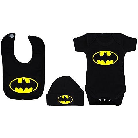 Bate bebé Pelele Body de//chaleco/camiseta, alimentación babero y gorro de Batman negro 0A