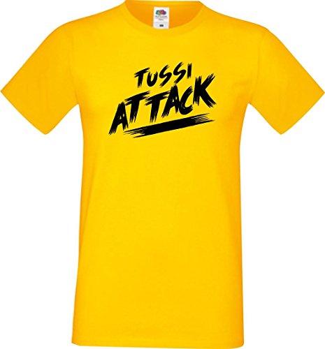 Shirtinstyle Männer T-Shirt Tussi Attack,gelb, XXXL