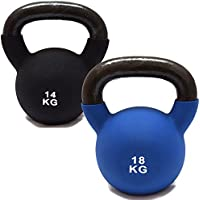 Set Of 2 FXR Sports Rubber Sleeve Kettlebells - 14kg + 18kg