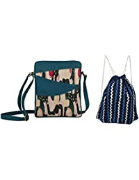 Rub & Style Hand Crafted Canvas Women Sling Bag & Drawstring Backpack Combo