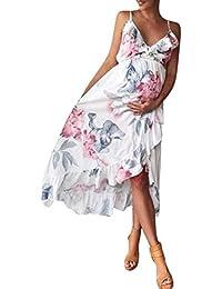 Longra Pour Maternité Robe Décontractée Floral Flounce Robe Femme Robe  Bustier Dentelle Mousseline Sans Manche Col V Boho Robe… 01578a3215e1