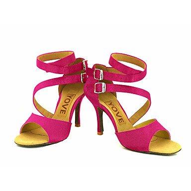 Scarpe da ballo-Personalizzabile-Da donna-Balli latino-americani / Salsa-Tacco su misura-Raso-Nero / Blu / Giallo / Rosa / Viola / Rosso bronze