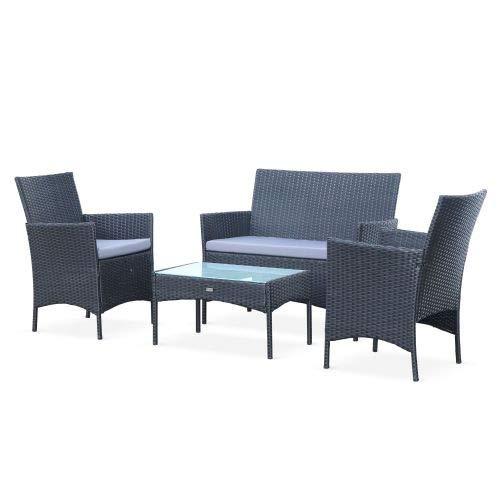 Salon de Jardin en résine tressée - Moltès - Noir, Coussins Gris - 4 Places - 1 canapé, 2 fauteuils, Une Table Basse