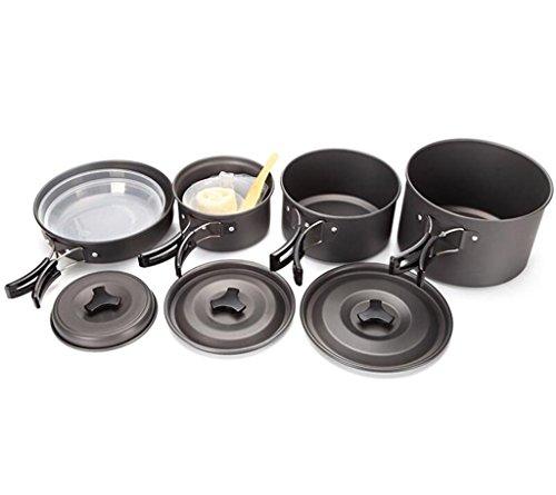YHKQS-KQS 4-5 Camping Kochgeschirr Set (mit Tasche) Camping Outdoor Küche Supplies Tragbares Aluminiumoxid Material