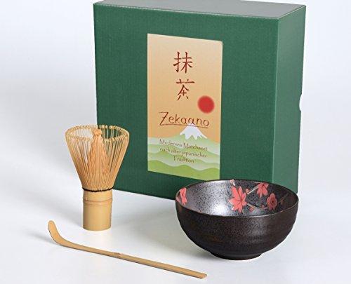 Té Matcha Juego de 3piezas, 300ml Antracita/Rojo, salpicado/Aricola–Cuenco para té matcha (Cuchara de bambú escoba, en caja de regalo, original Aricola