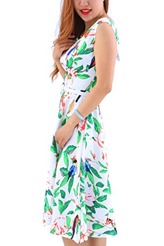 YMING Damen 50s Retro Vintage Rockabilly Hepburn Kleid Partykleider Cocktailkleider mit Gürtel Grün,Vögel