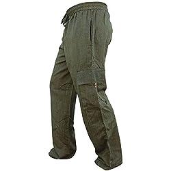 Pantalones jipis de Shopoholic Fashion, bohemios, de algodón fino, con bolsillos laterales Verde verde XXXL