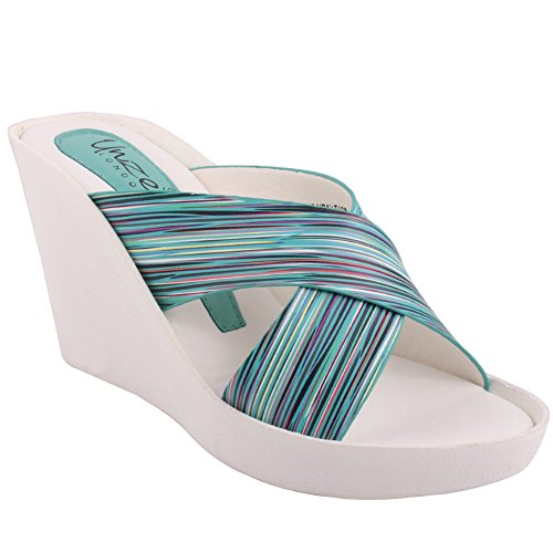 Unze Nouveau Roana Femmes 'Slip On Mid Talon Talon Wedge Casual Sandales Chaussures Taille 3-8 Aqua Bleu