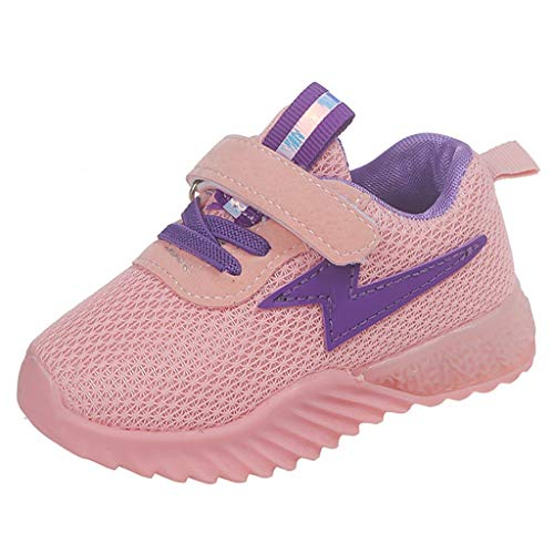 Riou LED Leuchtschuhe Kinder Junge Mädchen Blinkende Sneaker mit Klettverschluss Energy Lights Mesh Atmungsaktiv Weiche Sohle Running Sportschuhe Lauflernschuhe