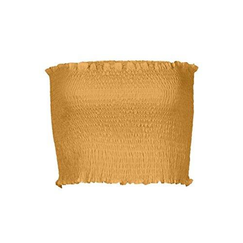 OVERDOSE Frauen trägerlosen elastischen Boob Bandeau Tube Tops BH Dessous Brust Wrap Bluse Sommer Basic Tops (A-Yellow,EU-36/CN-S) -