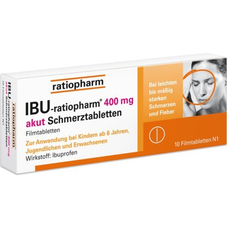 Ibu-ratiopharm® 400 mg akut Schmerztabletten, Spar-Set 5x50Filmtabletten. Anzuwenden bei leichten bis mäßig starken Schmerzen wie Kopfschmerzen, Zahnschmerzen, Regelschmerzen und Fieber
