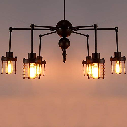 XFZ / Industria Hanging Light Swing Armed 6 Lampadario Grande Nero Illuminato