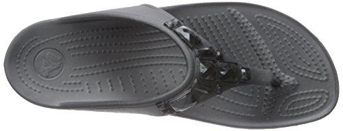 Crocs Sloane Crystal Flip W Sandali con plateau e zeppa, Donna Nero