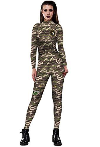 URVIP Skelett Overall Damen Knochen Skeleton Halloween Kostüm Bodysuit Anzug Karneval Fasching BAX-030 S