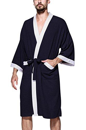 Dolamen Unisex Damen Herren Morgenmantel Bademäntel, Weich u. Leicht Baumwolle Waffelpique Nachtwäsche Nachthemd Robe Negligee locker Schlafanzug, für Spa Hotel Sauna (Small, Blau) -