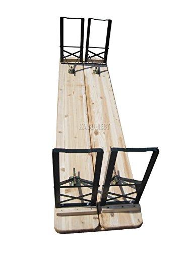 WestWood Outdoor Wood Wooden Vintage Folding Beer Table Bench Set Trestle Party Picnic Pub Garden Furniture Steel Leg