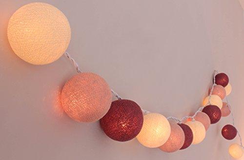 Illuminate Your Home Lichterkette mit 20 Kugeln aus Baumwolle 'Rosengarten' - Cotton Ball Lights, innen, Cream - Nude - Old Rose