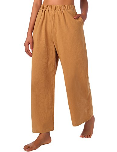 BaiShengGT Damen Leinen Hose Freizeithosen Weite Bein 100% Baumwolle Hose mit Taschen Gelb Medium