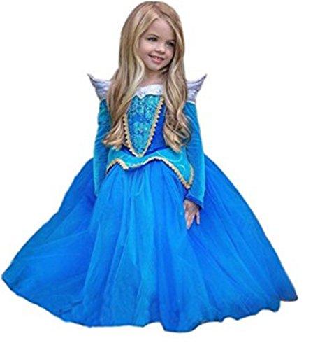 Kosplay Mädchen Prinzessin Kostüm Eiskönigin Kleid für Mädchen Schmetterling Karneval Verkleidung Party Cosplay Faschingskostüm Festkleid Weinachten Halloween Fest Kleid, Blau, Gr. ()