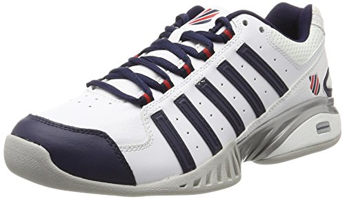 K-Swiss Performance Herren Receiver III Carpet Tennisschuhe, Weiß (White/Navy/Fieryred), 44.5 EU (Tennis Schuhe Tennis-herren)