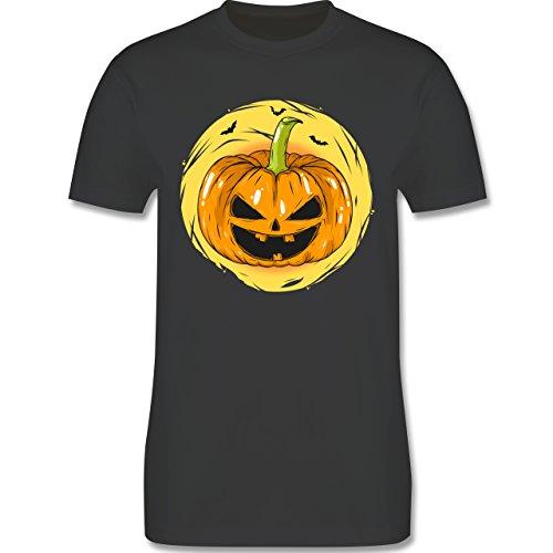 Halloween - Halloween Kürbis Gesicht - XXL - Dunkelgrau - L190 - Herren T-Shirt Rundhals