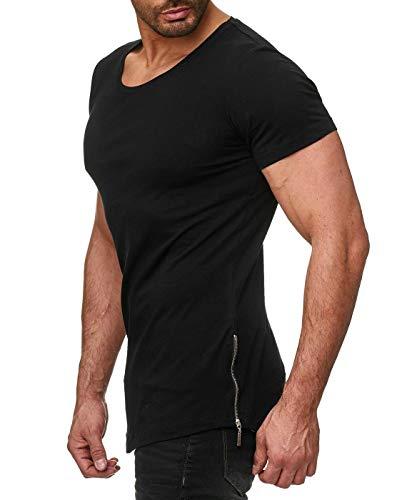 Deep Shirt Basic Oversize Style Shirt lang Longshirt Long Hoody Sommer Herren Sweatshirt NEU Sweater Sweat-Jacke Pullover langes Longsleeve m Kapuzenpullover Langarm Pulli (L, Schwarz - Sidezipper)