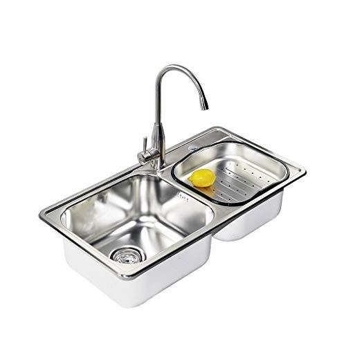 Fente double d'évier incorporée par bac d'évacuation silencieux de cuisine de grande capacité de cuisine Meubles-lavabos