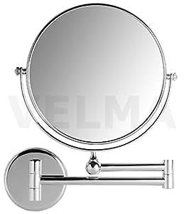 VELMA - AE802 7x - Hochwertiger 2-seitiger Kosmetikspiegel - 7-Fach Vergrößerung + Normalgröße - In alle Richtungen verstellbar - Hochglanz verchromtes Messing - Kein Plastik - Lässt sich vollständig an die Wand klappen - 100 % rostfrei !