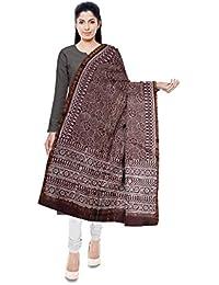 NEEL BATIK - THE BLOCK PRINTS Chanderi Handloom Chanderi Silk Stole For Women (Brown)